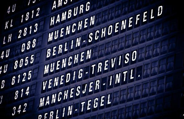 Departure board at Cologne-Bonn Airport (credit: Flowizm/CC-BY-2.0)