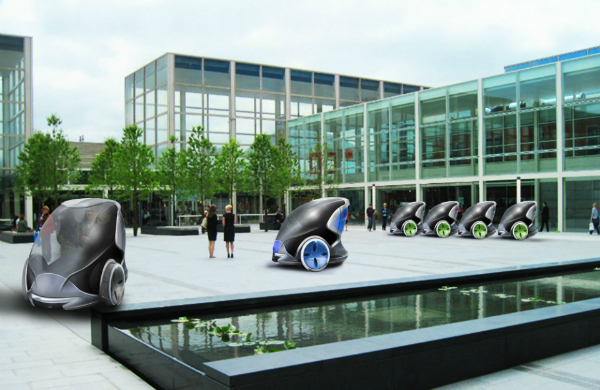 Driverless pods in Milton Keynes city centre (Image courtesy of BIS)