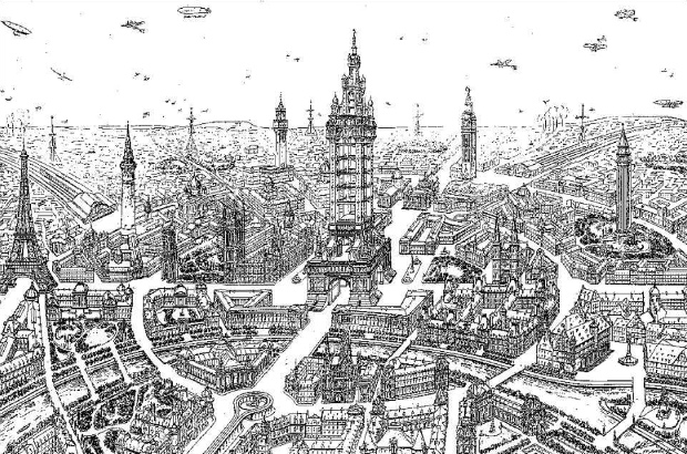 Illustration of a future city by Eugène Hénard