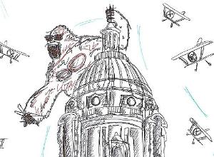 Pen drawing of King Kong climbing Ashton Memorial