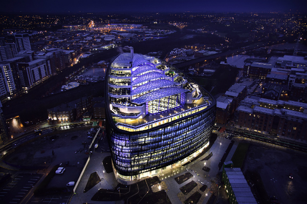 One Angel Square in Manchester at night (credit: The Co-operative/CC BY 2.0)