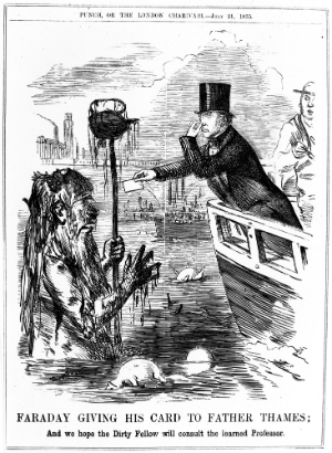 Cartoon from Punch Magazine showing Michael Faraday giving his card to Father Thames