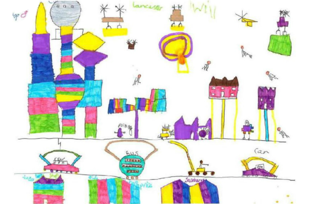 Child's drawing of Lancaster in 2065 (Image courtesy of Lancaster Chamber of Commerce)