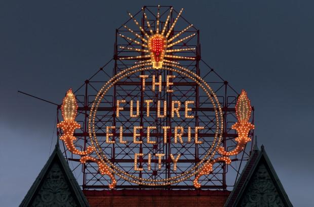 'Electric City' sign, Scranton, Pennsylvania (by Carol Highsmith (adapted))