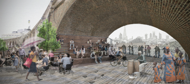 An artist's impression of a public space beneath the railway arches (credit: The Peckham Coal Line).