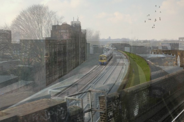 View of Coal Line Park from train window (credit: The Peckham Coal Line).