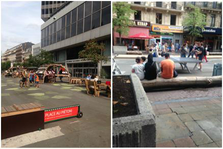 Open spaces on Boulevard Anspach, Brussels (images taken by the author by an iPhone 5c).
